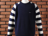 FK-STRIPED CREWNECK SWEATER (NAVY) ¥18,000- (FRONT SIDE)