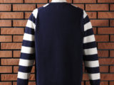 FK-STRIPED CREWNECK SWEATER (NAVY) ¥18,000- (BACK SIDE)