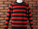 FK-STRIPED CREWNECK SWEATER (RED) ¥18,000- (FRONT SIDE)