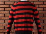 FK-STRIPED CREWNECK SWEATER (RED) ¥18,000- (BACK SIDE)